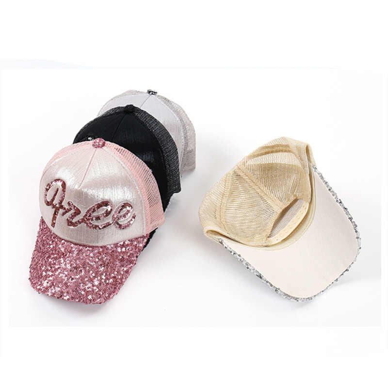 Новая модная блестящая Кепка s, Женская Блестящая сетчатая летняя кепка-бейсболка, дышащая Регулируемая Солнцезащитная шляпа для девушек, вечерние