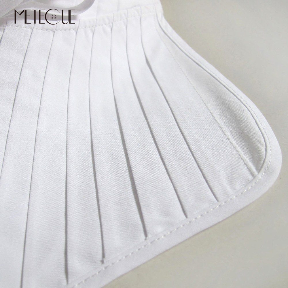 Image 3 - British Style Pleated With Lace Up Fake Collar Shirt Women Fashion Stand Detachable Collar White And Black False Collar 2018