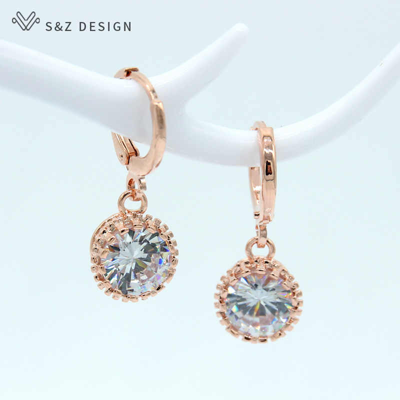 S&Z 2019 New Simple Round 585 Rose Gold-Color AAA Zircon  Earrings For Japan/South Korea Women Unique Fine Wedding Jewelry