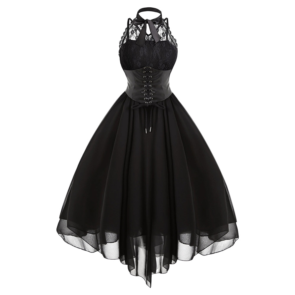 ad8f4028d5ce Gamiss 2017 Gothic Party Bow Dress Women Vintage Black rukávů Cross Back  Lace Panel Korzet Swing