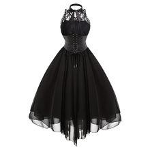 ea325cbb1f Gamiss 2017 Gothic Bow Party Dress Kobiety W Stylu Vintage Czarny Bez  Rękawów Krzyż Powrót Lace Panel Gorset Huśtawka Sukienka S..