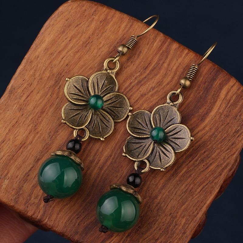 NEW MYWINY OWN DESIGN metal flowers vintage ethnic green earrings for women 18 design