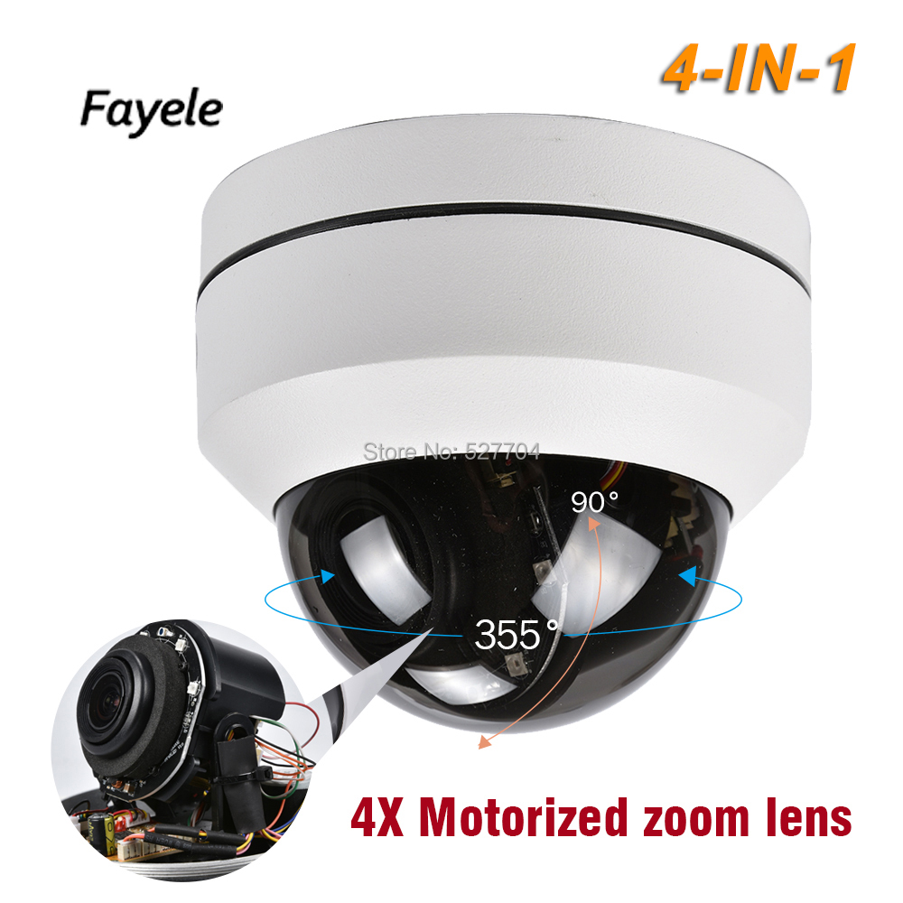 CCTV Security TVI CVI AHD 1080P PTZ Dome Camera 4in1 Pan Tilt 2.8~12mm Lens 4X zoom IR 40M IP66 Waterproof Vandalproof UTC RS485 cctv indoor 1080p 2 5 mini dome ptz camera sony imx323 ahd tvi cvi cvbs 4in1 2mp pan tilt 4x zoom day night ir 40m osd menu