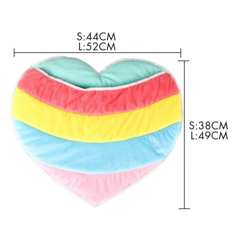 Cute Rainbow Color Heart Shape Warm Soft Plush Cat House Small Dog Puppy Pet Sleeping Bag Kennel Mat Cat Bed