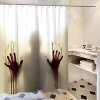 Behogar Хэллоуин Страшные тени окровавленные руки водонепроницаемый ванная душевая занавеска С 12 занавес крючки 1,8x1,8 м