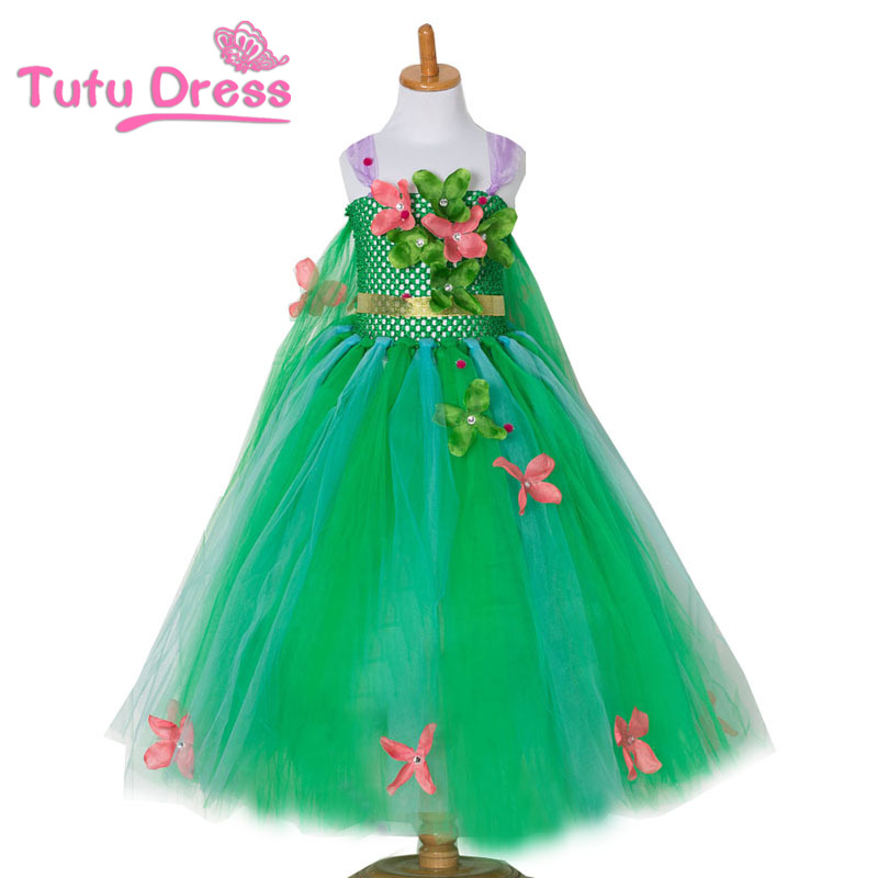 Көйлек қыздар Жасыл күлгін гүлдері Tutu көйлек Косплей Princess Elsa көйлек Kid туған күні Party Dresses Гүл шабыт Қолмен жұмыс