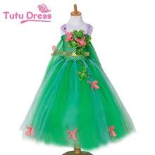 Baby Dresses Girl Green Fairy Flower Tutu Dress Cosplay Princess Elsa Dress Kid Birthday Party Dresses Flower Inspired Handmade
