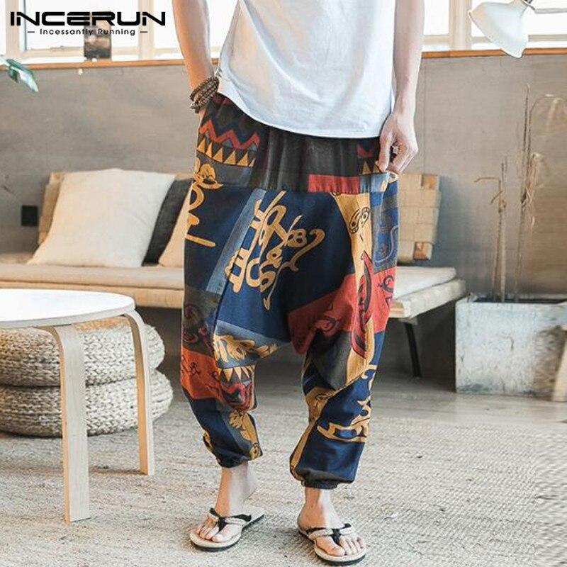 INCERUN Mens Wide Leg Harem Pants Trousers Men Elastic Waist Loose Print Casual Hip-hop Streetwear Joggers Big Crotch Pants 2019