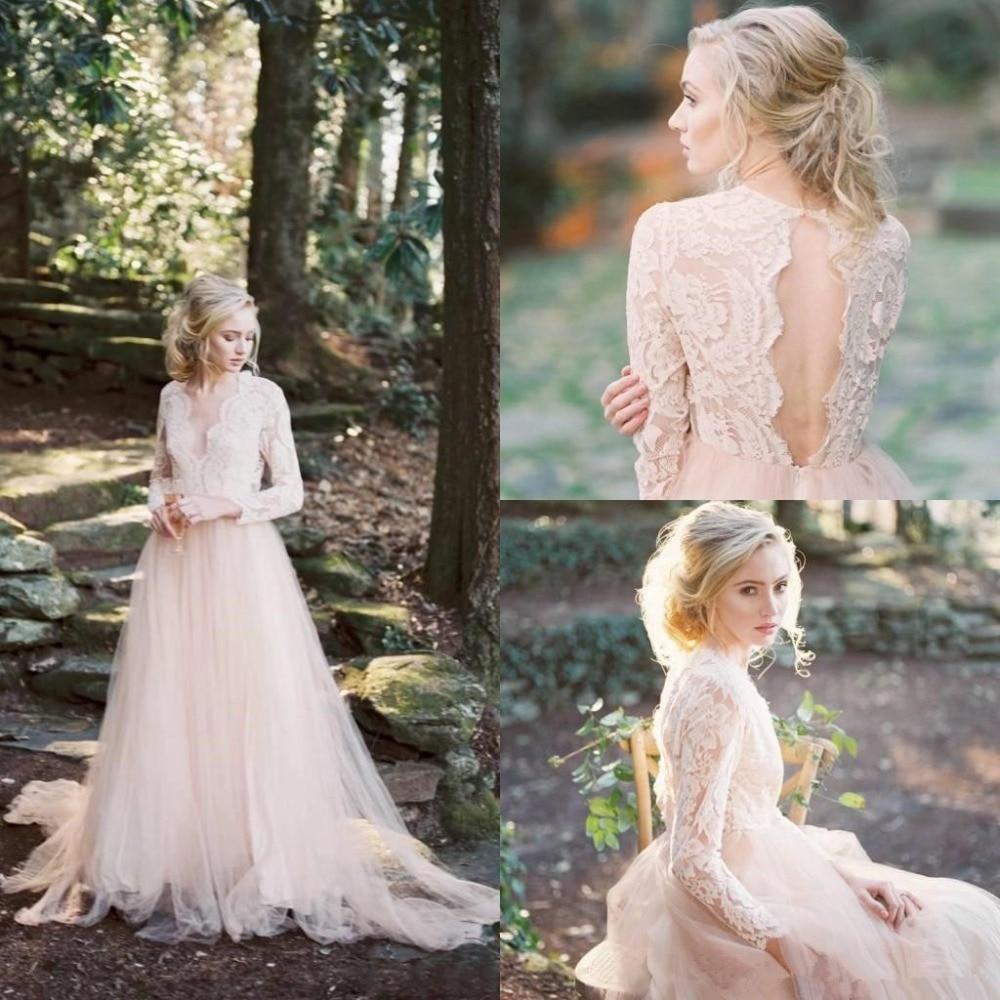 Garden Country Wedding Dress 2019 Vintage Lace Wedding Gowns Open Back vestido de noiva Bride Dress Long Sleeve robe de mariee
