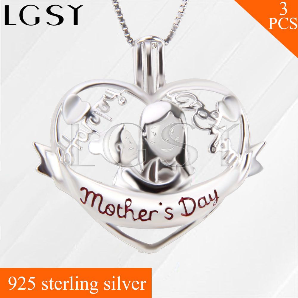 Happy Mother's Day LGSY 925 Sterling Silver Mother and Child Cage Pendants Necklace Pearls Charms 3pcs mulinsen newest 2017 autumn winter men