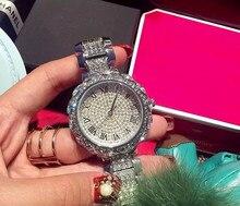 Hot Sale! Top Quality Women Watches Luxury Steel Full Rhinestone Wristwatch Lady Crystal Dress Watches Gold Female Quartz Watch