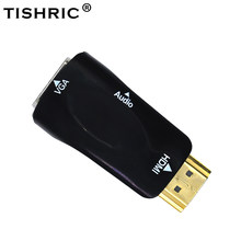 Tishric HDMI untuk VGA Adapter Male To Female Konverter 3.5 Mm Kabel Audio 1080P HDMI2VGA Digital Ke Analog Adaptor untuk TV Proyektor(China)
