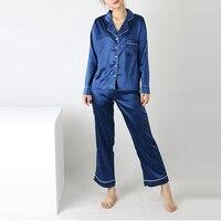 2017 Autumn Womens Silk Satin Pajamas Sets Fashion Sleepwear Long Sleeve Tops Long Pants Sleepwear Casual
