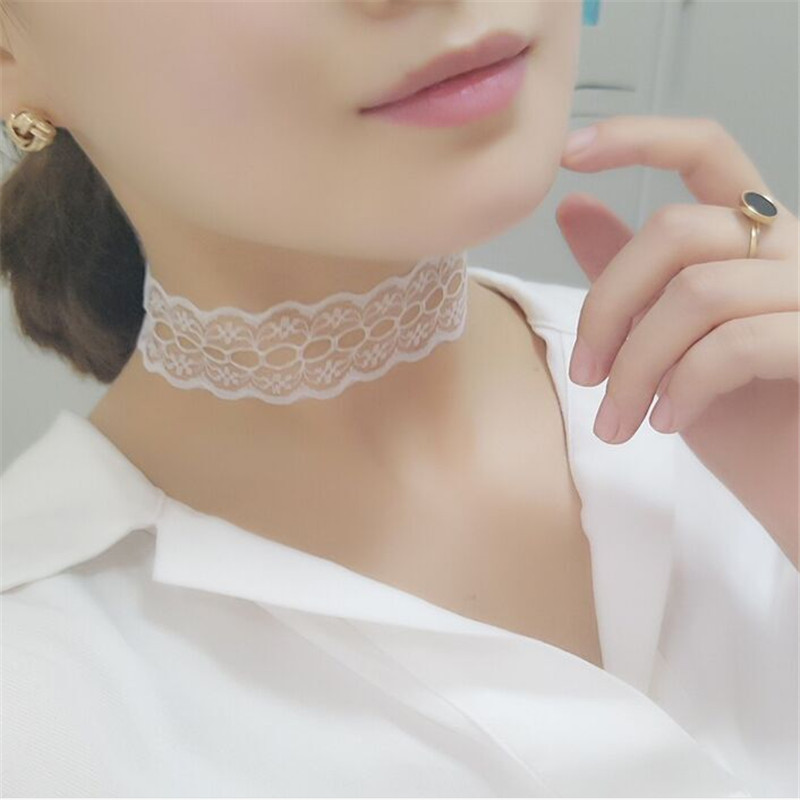 Trendy Black White Hollow out Lace Flower Choker Necklace For font b Women b font Girls