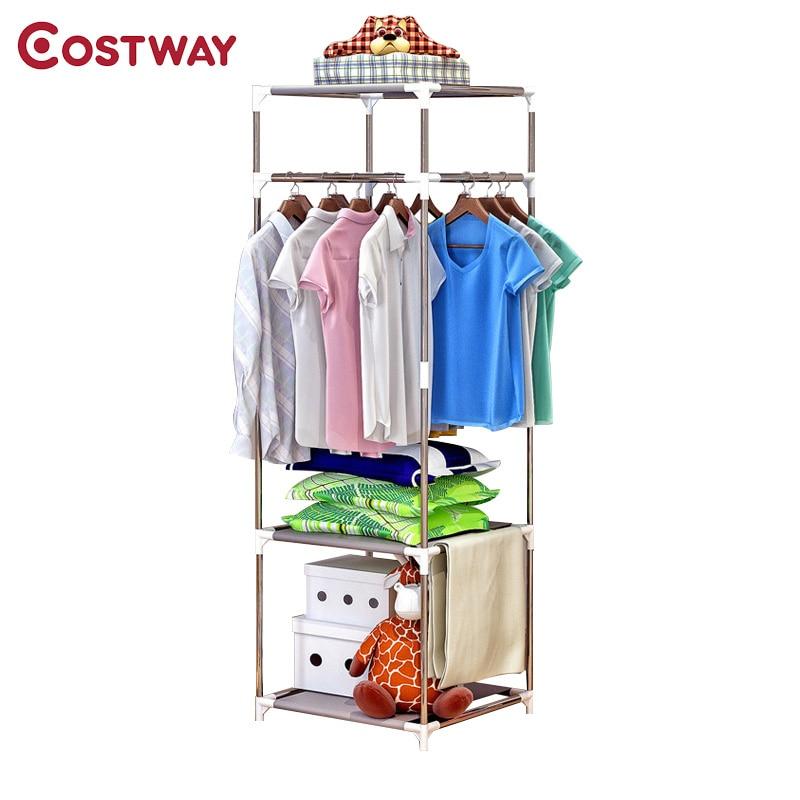 COSTWAY простая одежда пальто стойки Спальня пол Подвесной для хранения одежды полки балкон многофункциональный сушки стеллажи W0182
