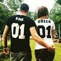 Women New O neck T-shirt Valentine Shirts  Cotton King Queen 01 Letter Print Couples Leisure Man Tshirt Short Sleeve T-shirt