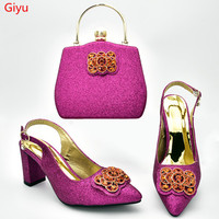 doershow fuchsia Shoes with Matching Bags for Wedding Women Shoes and Bag to Match for Party Nigerian Shoes and Bag Set!HXD1 19
