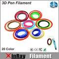 Xinray Filamento para 3D Caneta 1.75mm 20 cor 100 Metros Filamento PLA para 3D Caneta Desenho Colorido Pintura 3D PLA Impressora 3D Material