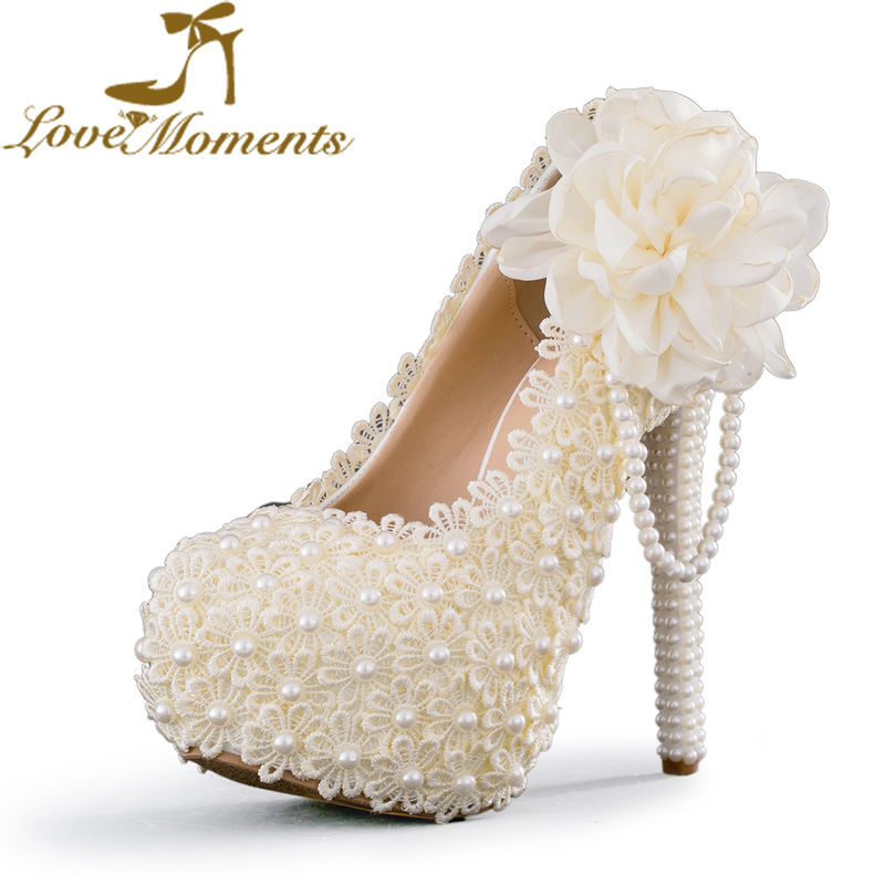 Women Sweet Wedding Shoes Ivory/white/pink  Flowers Lace Platform High Heels Pearl beading Bridal  Dress party shoes for woma
