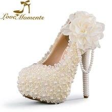 Frauen Süße Hochzeit Schuhe Elfenbein/weiß/rosa Blumen Spitze Plattform High Heels Perle perlen Brautkleid paryt schuhe Bigsize