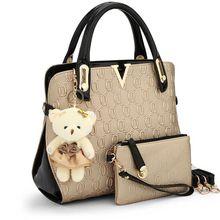 Casual Geprägt handtasche designer-handtaschen hoher qualität frauen messenger bags umhängetasche 2 bags/set mit bär spielzeug C40-281