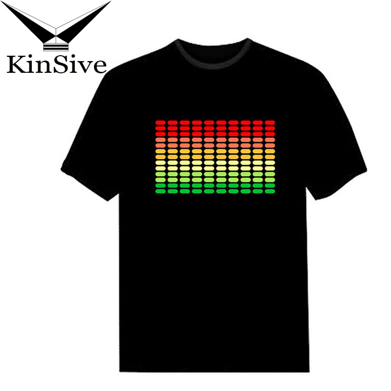 NEW Sale Sound Activated LED T Shirt Light Up And Down Flashing Equalizer EL Summer T-Shirt Men For Rock Disco Party DJ T Shirt