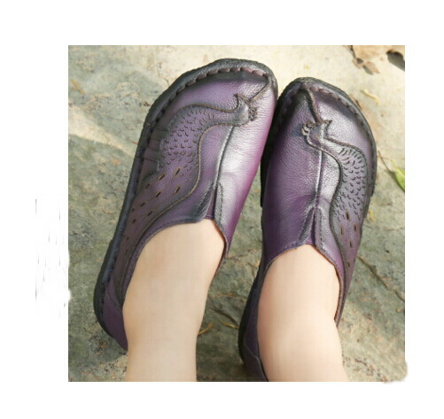 ФОТО Ethnic Style Women Genuine Leather Flat Shoes Woman Loafers 2017 New Fashion Women Casual Single Shoes Women Flats