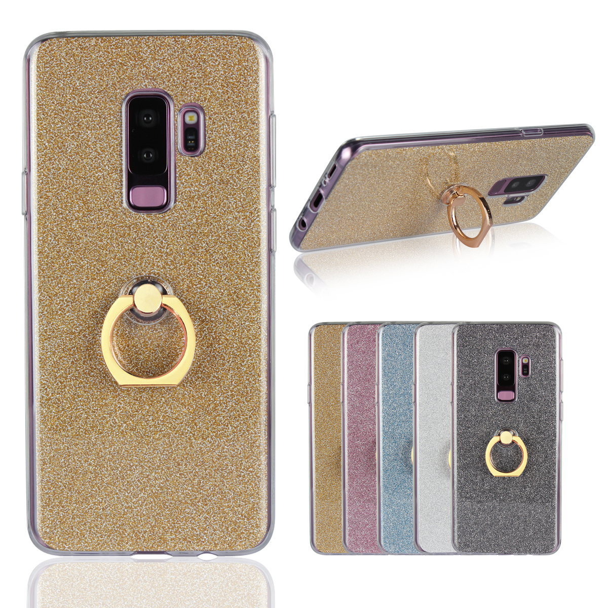 Soft Ring Phone Case Finger Holder Support Bling Cover for Samsung Galaxy S9 S8 A6 Plus S7 S6 S5 NOTE8 TPU Rubber Cases Luxury