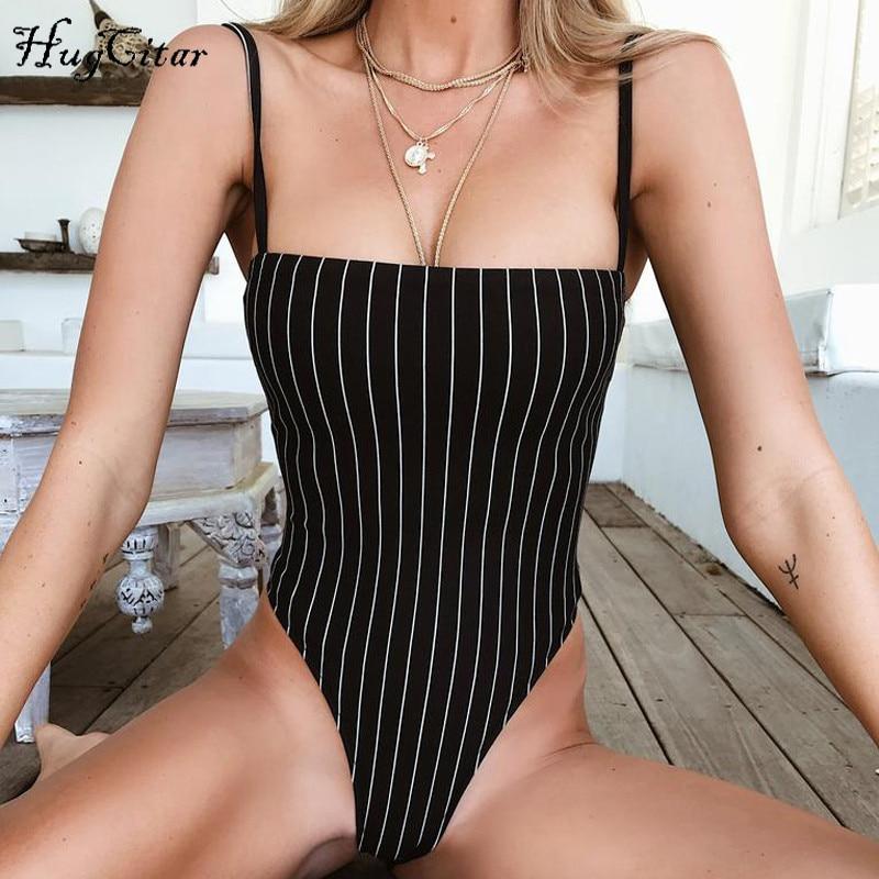 Hugcitar Spaghetti Straps Stripe Slash Straight Neck Backless Sexy Bodycon Bodysuit 2019 Summer Women Fashion Body
