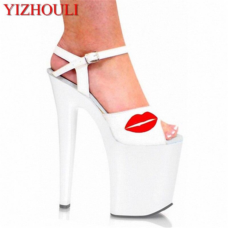 cdcef09505961 20 سنتيمتر ارتفاع كعب الصنادل جنسي ارتياد 8 بوصة أحذية الزفاف الأبيض المرأة  المفتوحة تو منصة المسرح الأحذية