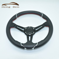2019 New Style Nard Carbon Fiber Red Stitch Steering Wheel For Racing Car 350MM fashion personality steering wheel
