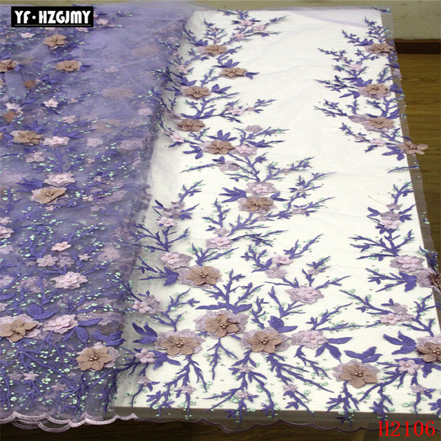 YF HZGJMY French 3D flower Lace Fabric with beads Lace Fabric High Quality African Embroidery me'sh Lace Fabric Wedding A2106-1