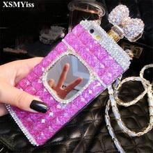 XSMYiss Samsung S20 S8 S9 S10 artı S10E not 10 artı 8 9 elmas taklidi ayna parfüm şişesi yumuşak telefon kılıfı arka kapak