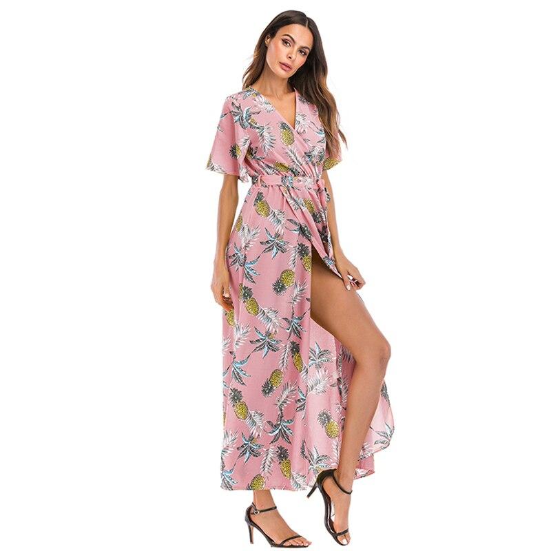 f70b57922 Comprar AOTEMAN impresión Floral vestido de verano vestido de las nuevas  mujeres Casual Sexy V profunda de tenedor largo vestido de mujer elegante  vestido ...