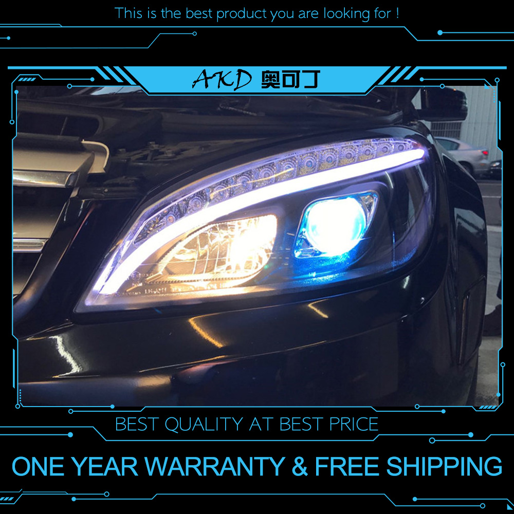 AKD tuning voitures phare pour W204 phares 2007-2010 C300 C260 mise à niveau W205 phare LED DRL Hid Bi xénon Auto accessoires - 6