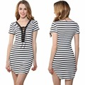 2017 summer Striped dress for women Hot crossed lace deep V stripe package hip dress fashion women dress casual clothes