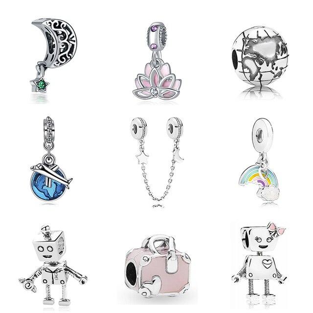 Nouveau Original livraison gratuite argent plaqué perle vacances voyage de noël charme Fit Pandora Bracelet collier bricolage femmes bijoux