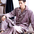 Autumn and winter male coral fleece sleepwear male thick flannel sleepwear plus size long-sleeve lounge set