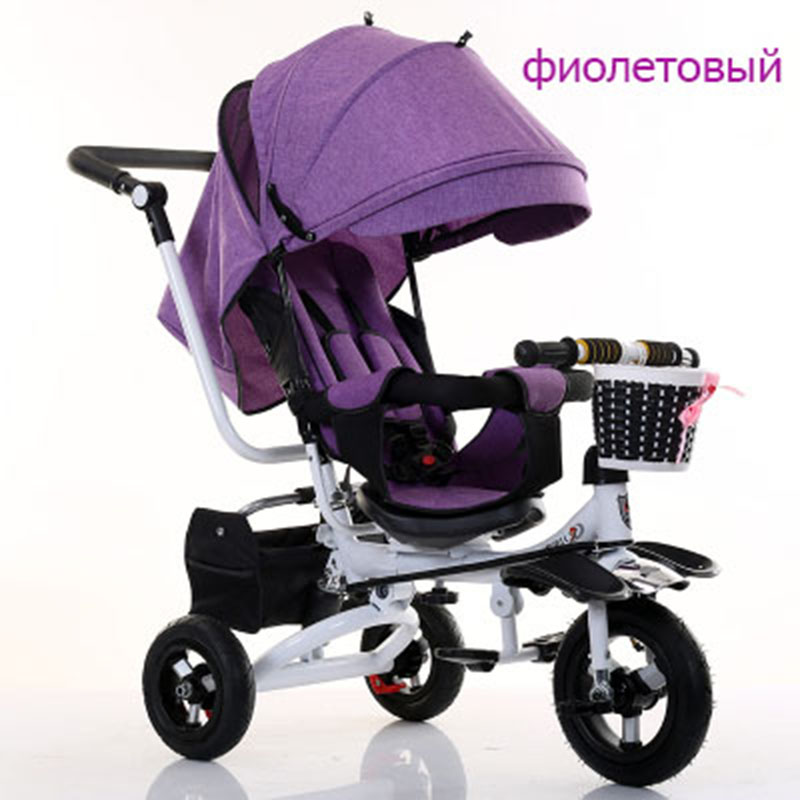 Baby trolley baby bike children tricycle rotating seat with hand push folding bike baby bike child 1-3-5 bike ...