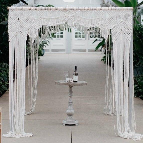 200 Cm X 240 Cm Macrame Boog Bruiloft Backdropmacrame Gordijn Extra Grote Macrame Boho Wedding Decor Bohemian Stijl