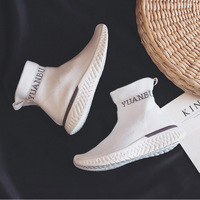 Women Socks Shoes Spring 2019 High top Lady Sock Shoe Black Gray Flat Heel Good Quality Flyknit White Sneakers Stylish Shoes
