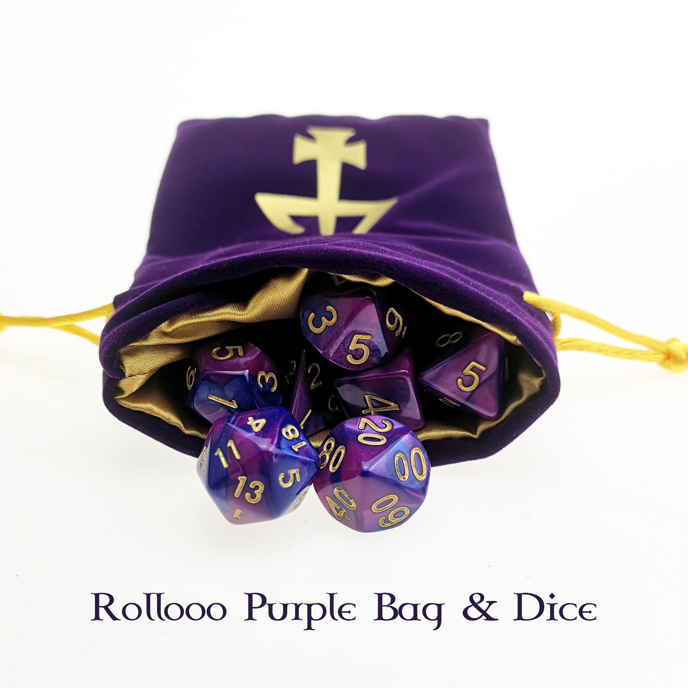 Rollooo Purple Bag & Dice Set With Customized Logo