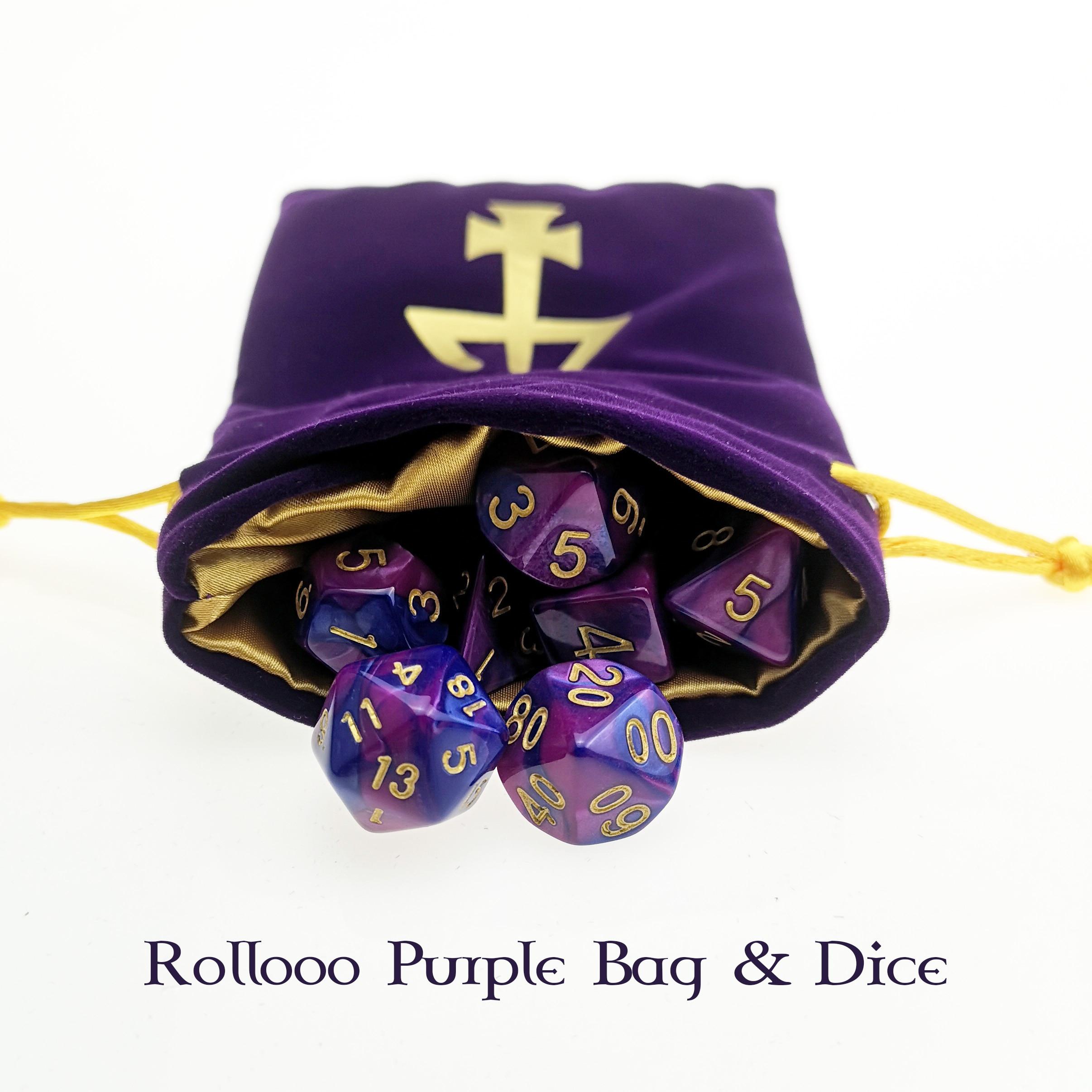 Rollooo Purple Bag & Dice Set With Customized Logo