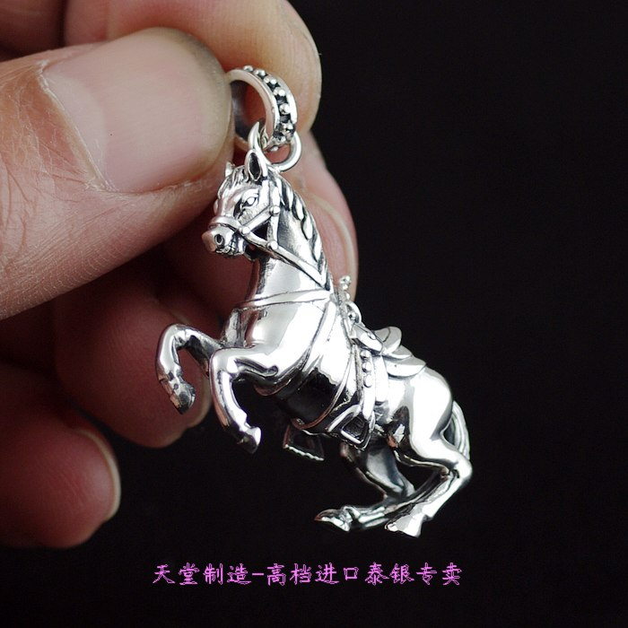 Thailand imports, 925 Solid Sterling Silver Horse Silver Pendant thailand imports skull blood new skeleton silver ring