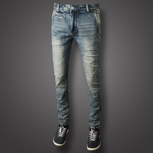 купить 2019 Fashion Men Jeans High Quality Light Color Slim Fit Ripped Jeans Cotton Long Pants Brand Designer Classical Jeans Men дешево