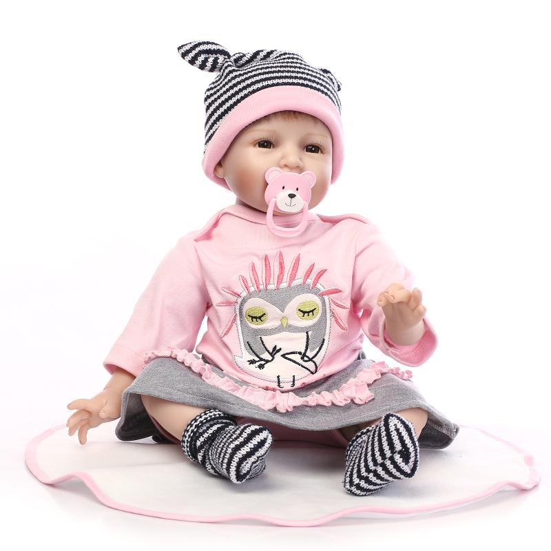"22"" Lifelike Silicone Toddler Smile Girl Fashion Doll Look Real Reborn Baby Vinyl Toys House Play Game Collects Christmas Gifts"