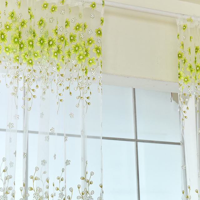 New Curtains Flowers Home Room Kitchen Sheer Cafe Curtain Voile Window Panel Drape