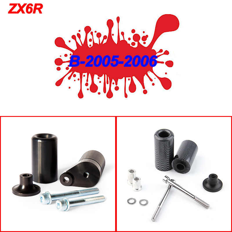 9sparts Black No Cut Frame Sliders Engine Crash Protector Guards For 2003 2004 Kawasaki ZX-6R//ZX-6RR ZX 6R 6RR