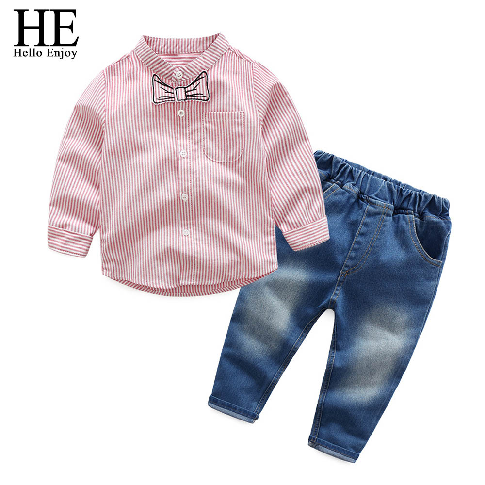 kids clothes boys clothing sets Autumn Stripe long sleeved shirt + jeans two-piece suit toddler boy clothes children clothing