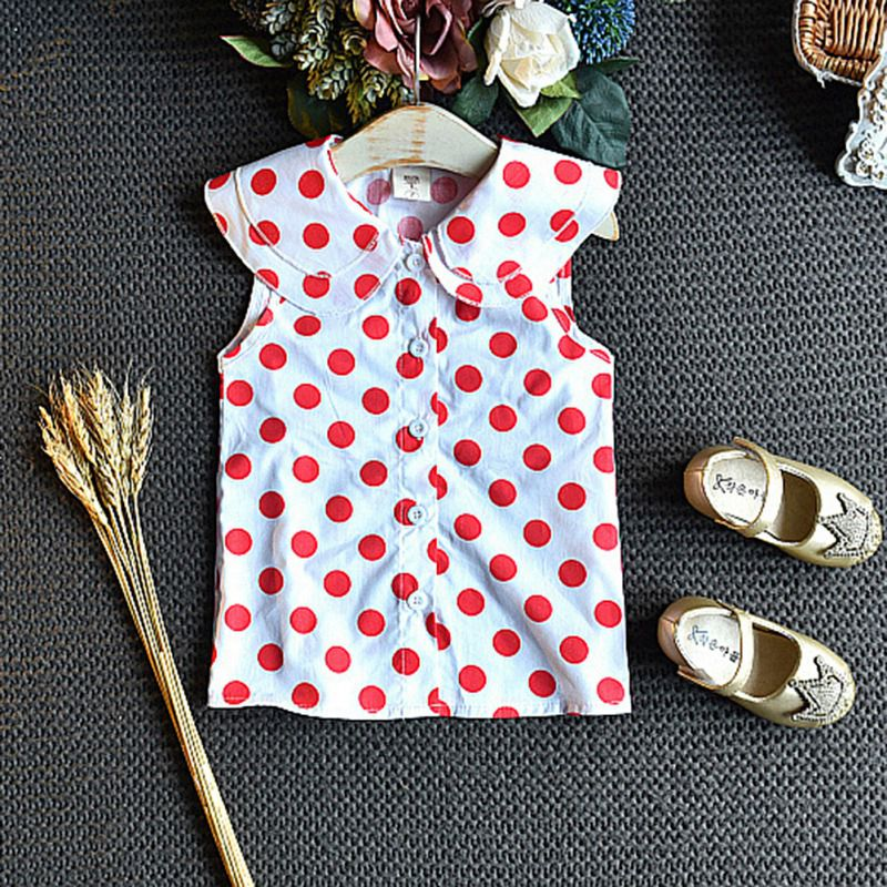 Summer Baby Girls Clothes Dot Print Sleeveless Tops Blouse Mesh Skirts Suits Toddler Costume Set in Clothing Sets from Mother Kids